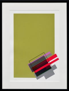 """Legato 2"" - Chartreuse Abstract Geometric Screen Print"
