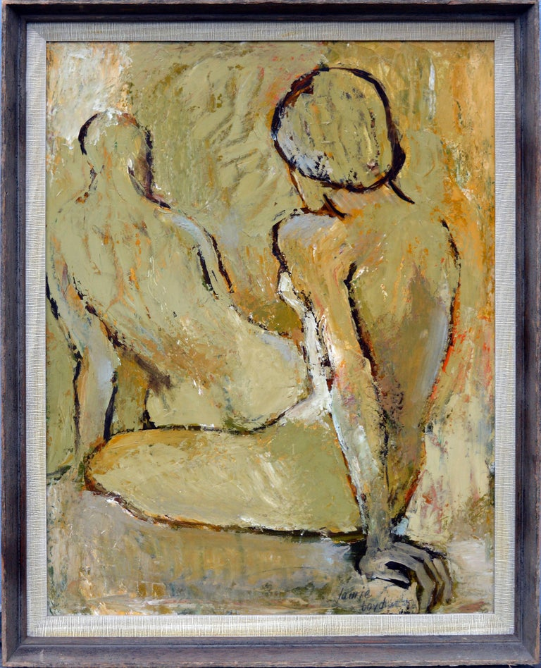 Laurie Boyd Abstract Painting - Mid Century Modern -- Two Abstracted Nude Figures