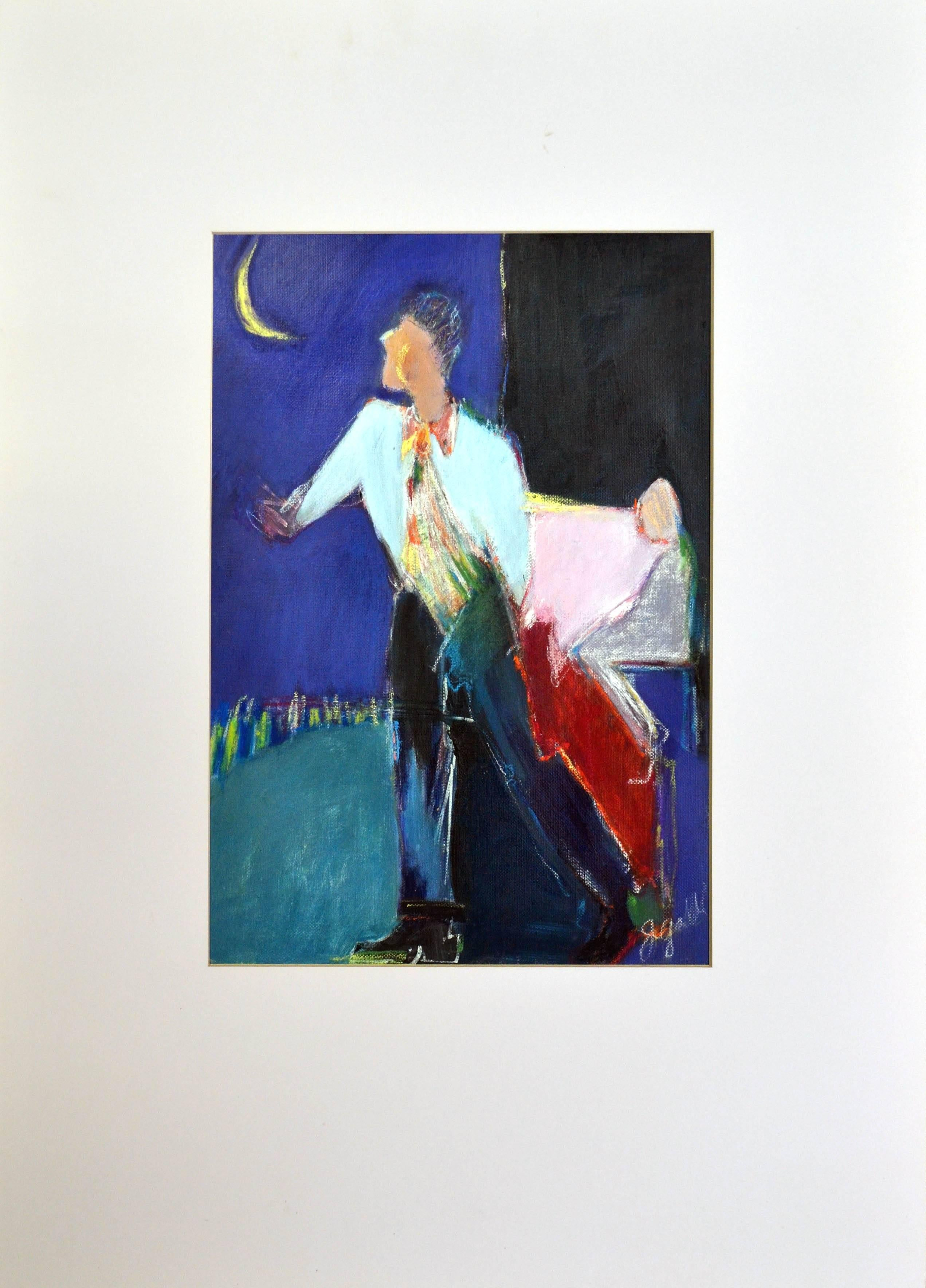 Man With Moon - Figurative Abstract