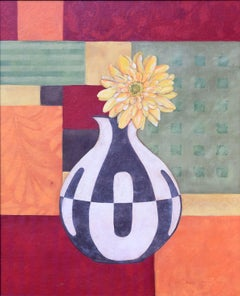 Abstract Floral with Art Deco Vase