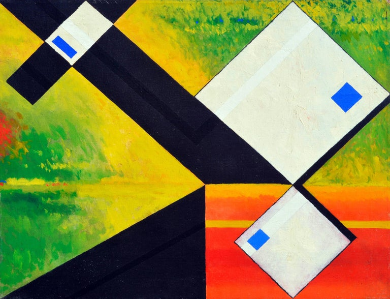 James McCray Abstract Painting - White Abstract Cubes -- San Francisco Abstract Expressionist School