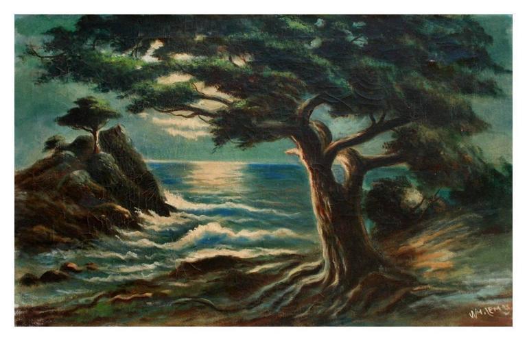 William M. Lemos Landscape Painting - Nocturnal Monterey Cypress Point