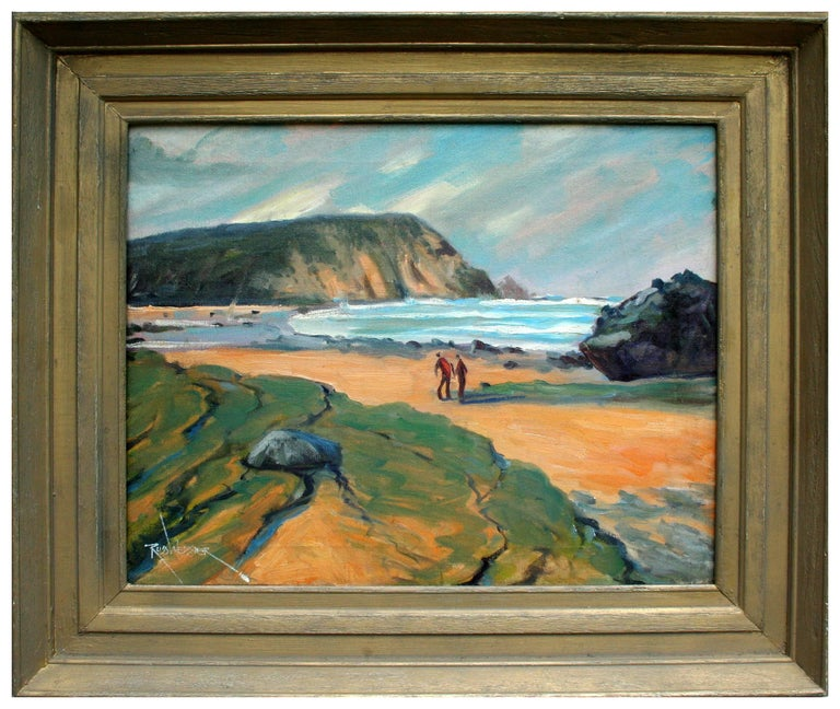 Russ Webster Figurative Painting - New England Beach Walk