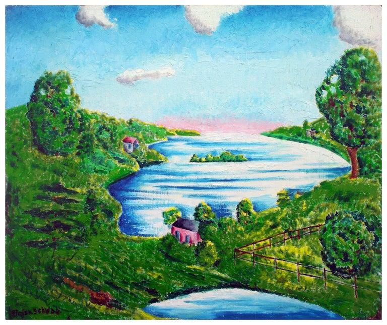 Eloisa Schwab Landscape Painting - Sunrise on the Horizon - Idyllic Landscape