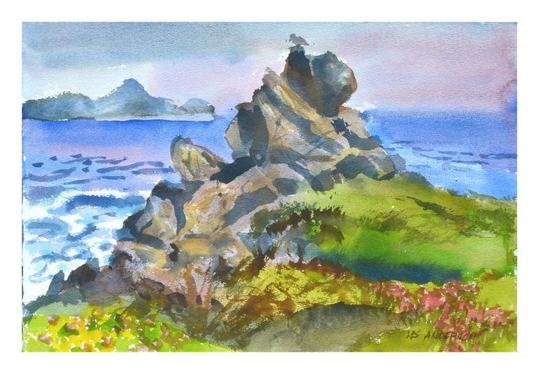 Les Anderson Landscape Painting - Rocky Point at Point Lobos