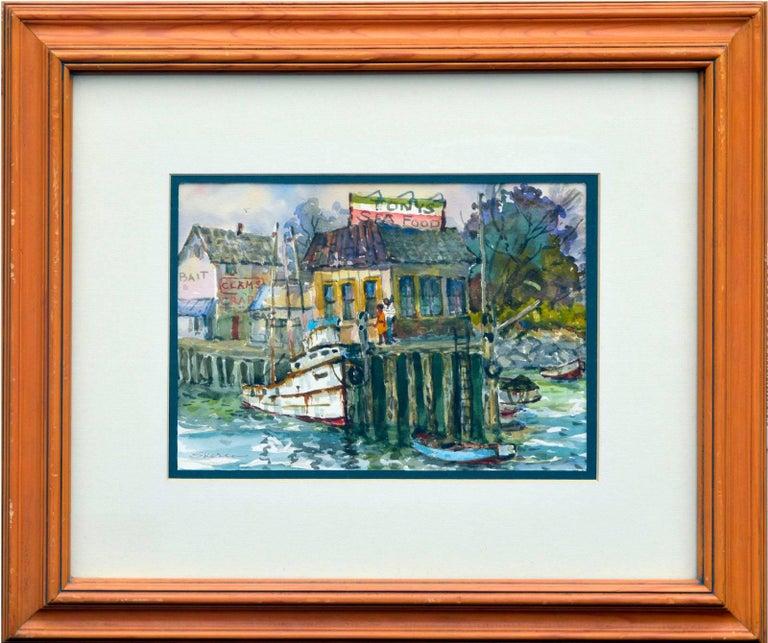 Stephen John Skerce Figurative Painting - Monterey Wharf by Stephen Skerce