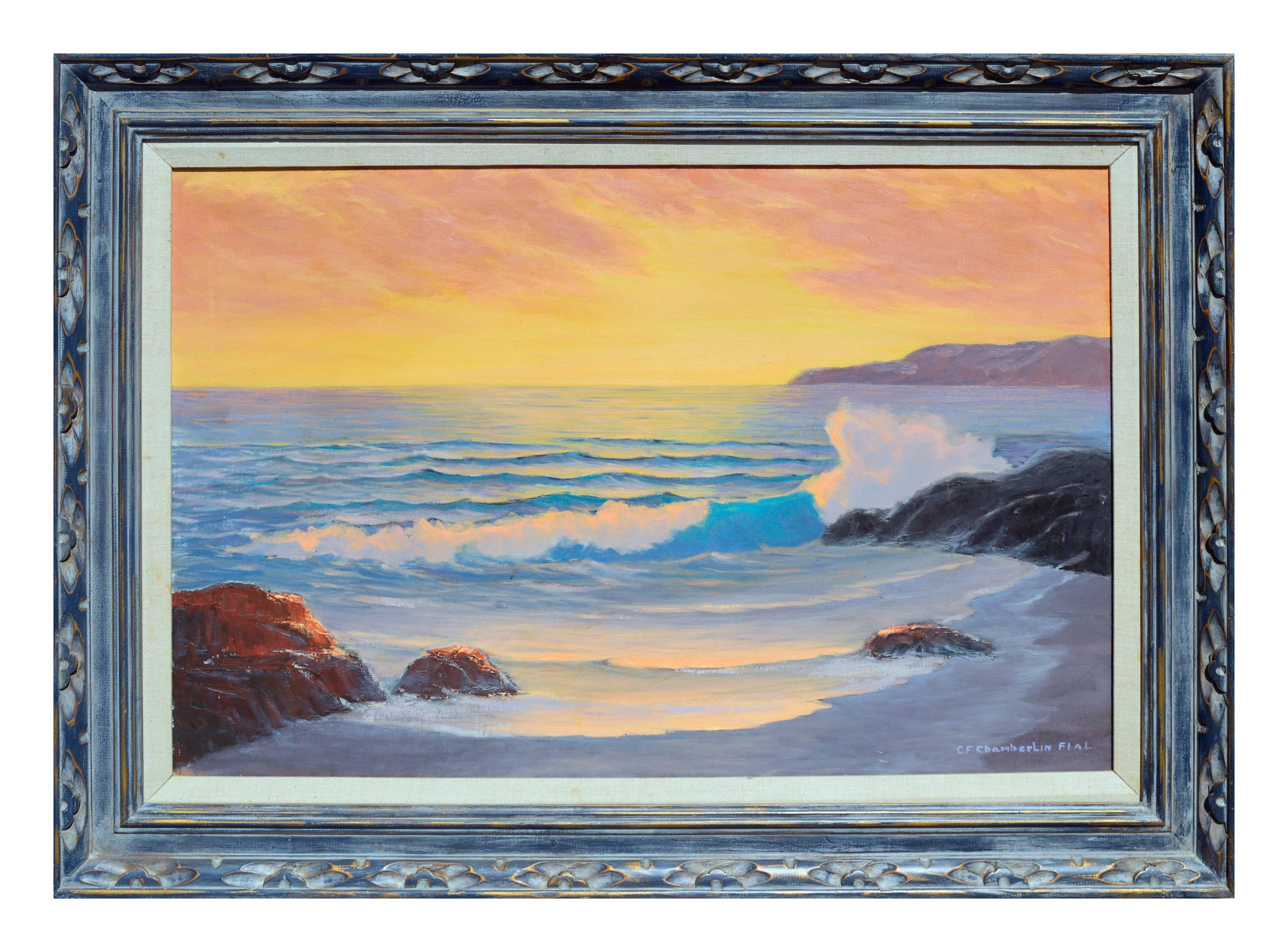 Mid Century Ocean Sunset Seascape