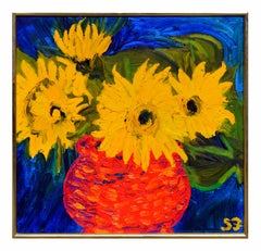 Mid Century Sunflowers Still Life