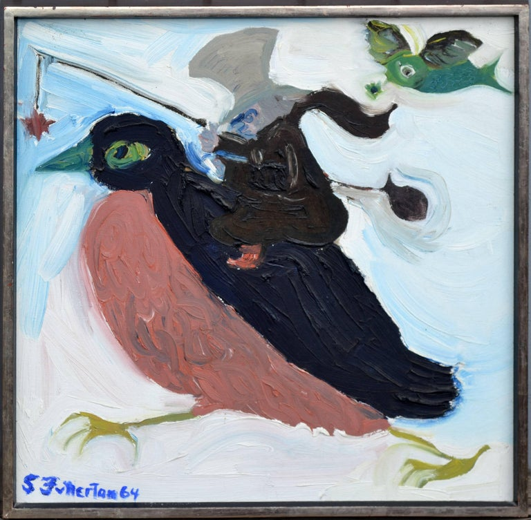 Painting of the Mouse on the bird with a treat to get the fat bird to go where the mouse wants. Stan Fullerton An allegory on the day Stan was broke selling his art on the side of the road and a big wealthy man came by and wanted his artwork. For