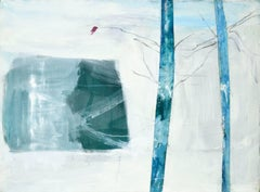 """""""Emerging Spring"""" - Blue & White Abstract with Trees"""