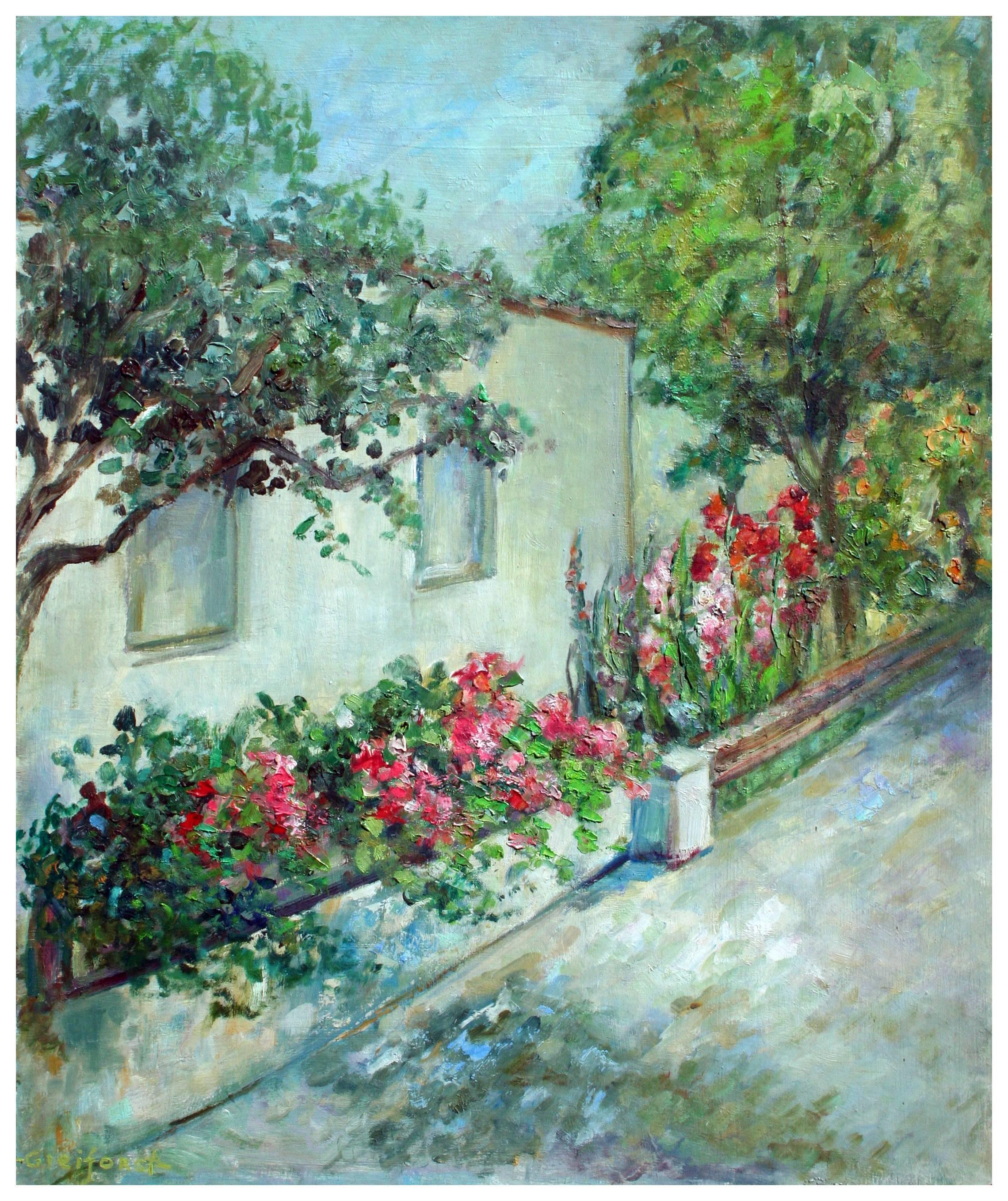 Mid Century Carmel Cottage with Flowers Landscape