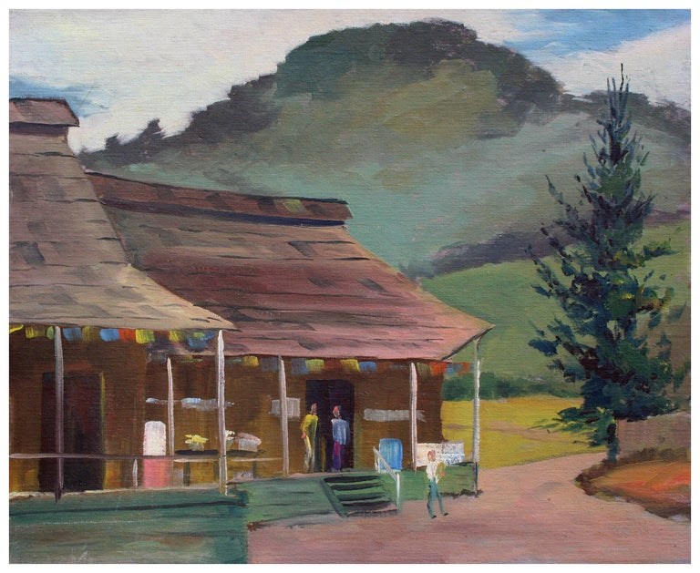 Jon Blanchette Figurative Painting - Mid Century Aptos Village Apple Shed and Market