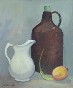 Mid Century White Pitcher, Brown Jug and Onion Still Life
