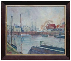 Boats in the Harbor - Mid Century Industrial Seascape