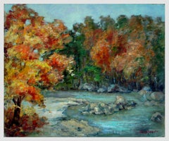 Mid Century Autumn Stream Landscape