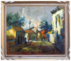 Sunset Streets in Old Town - Chilean Figurative Landscape