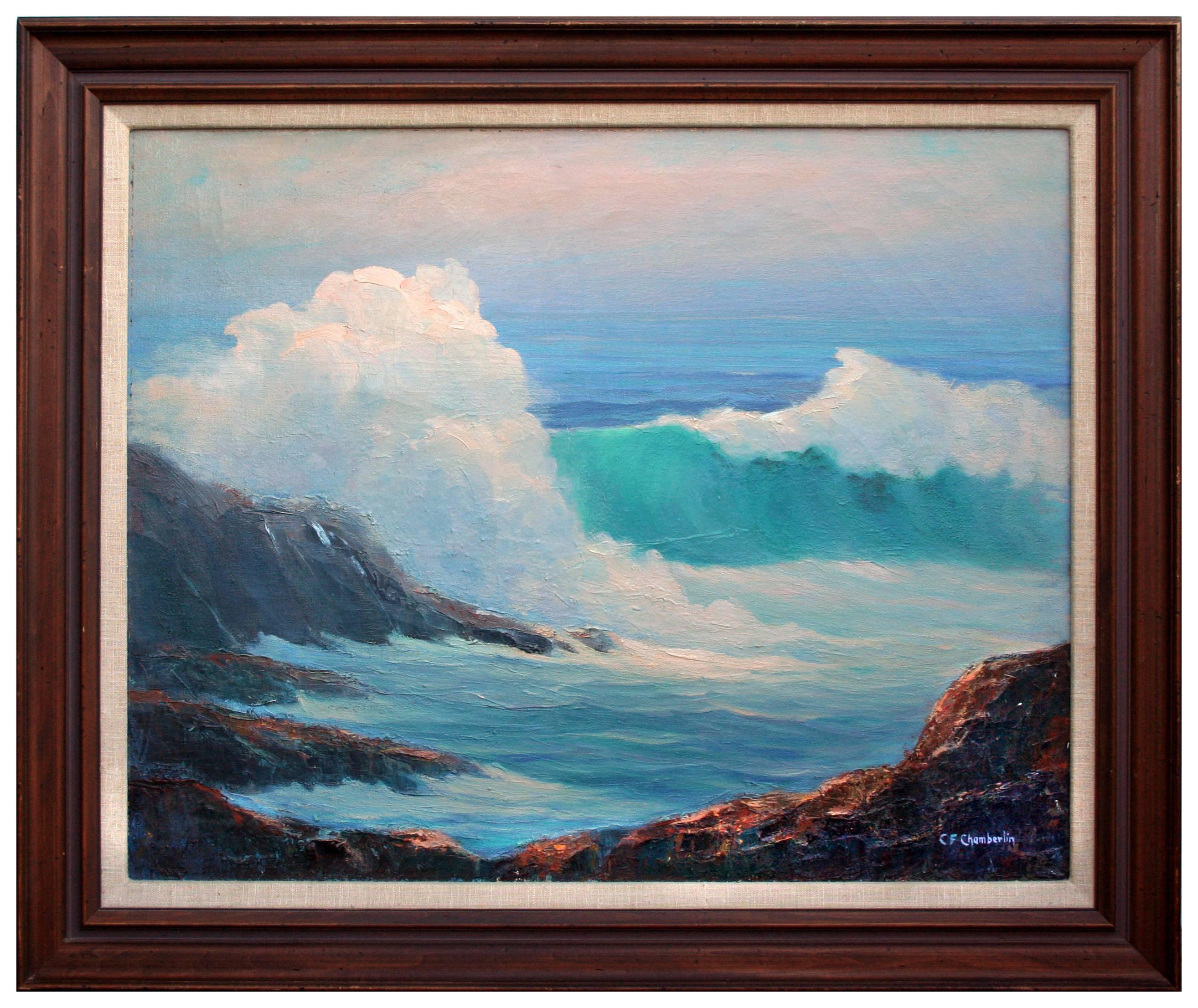 Mid Century Northern California Rocky Shore Seascape