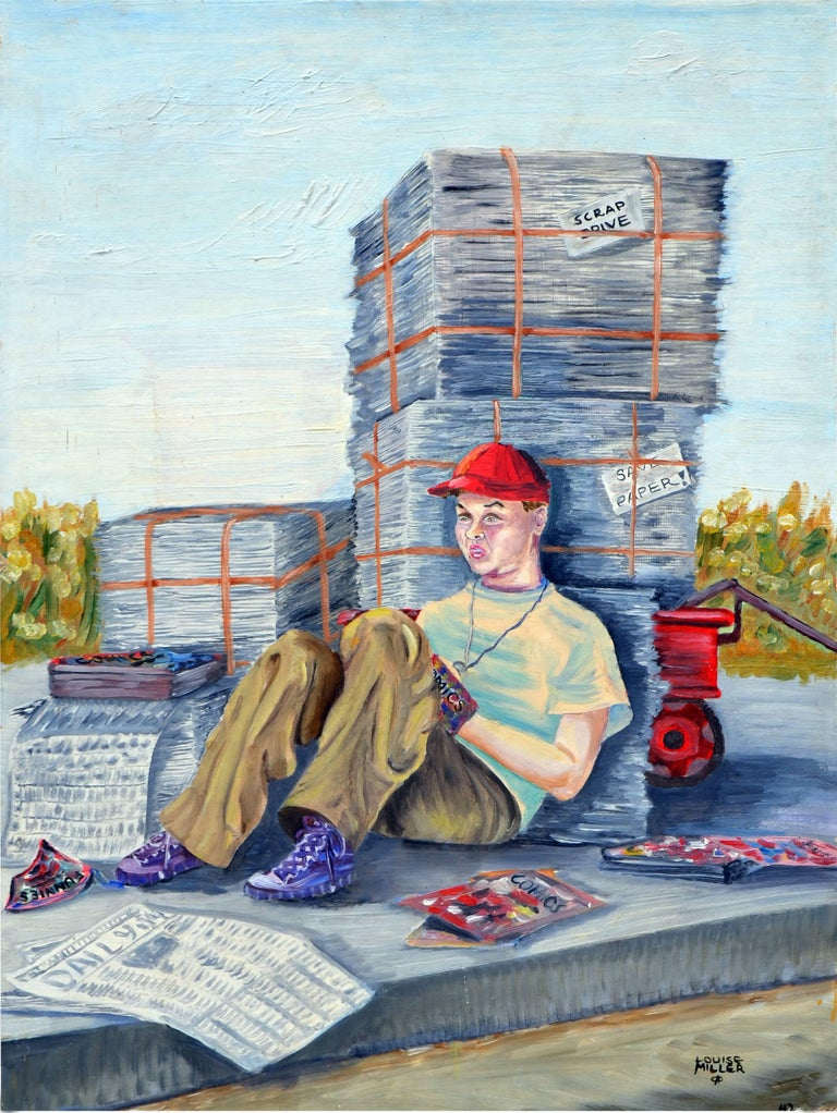 """The paper boy by Louise Miller Clark (American, 20th Century). Signed """"Louise Miller"""" lower right. Unframed. Image size, 24""""H x 18""""W.   Louise was an active California Modernist who lived in Modesto, California and exhibited in many exhibitions."""