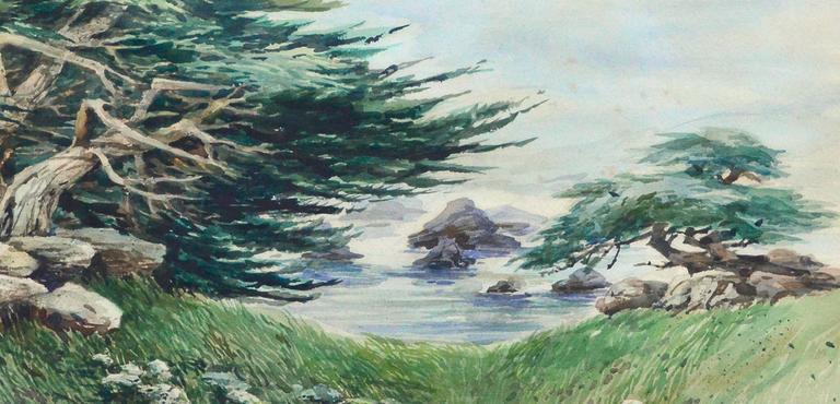 Shore Carmel Cypress  - American Impressionist Painting by Margaret Eifler