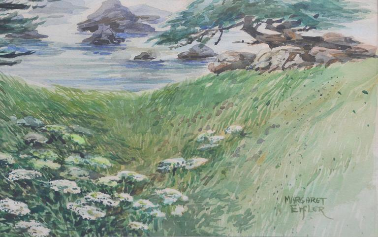 Shore Carmel Cypress  - Gray Landscape Painting by Margaret Eifler
