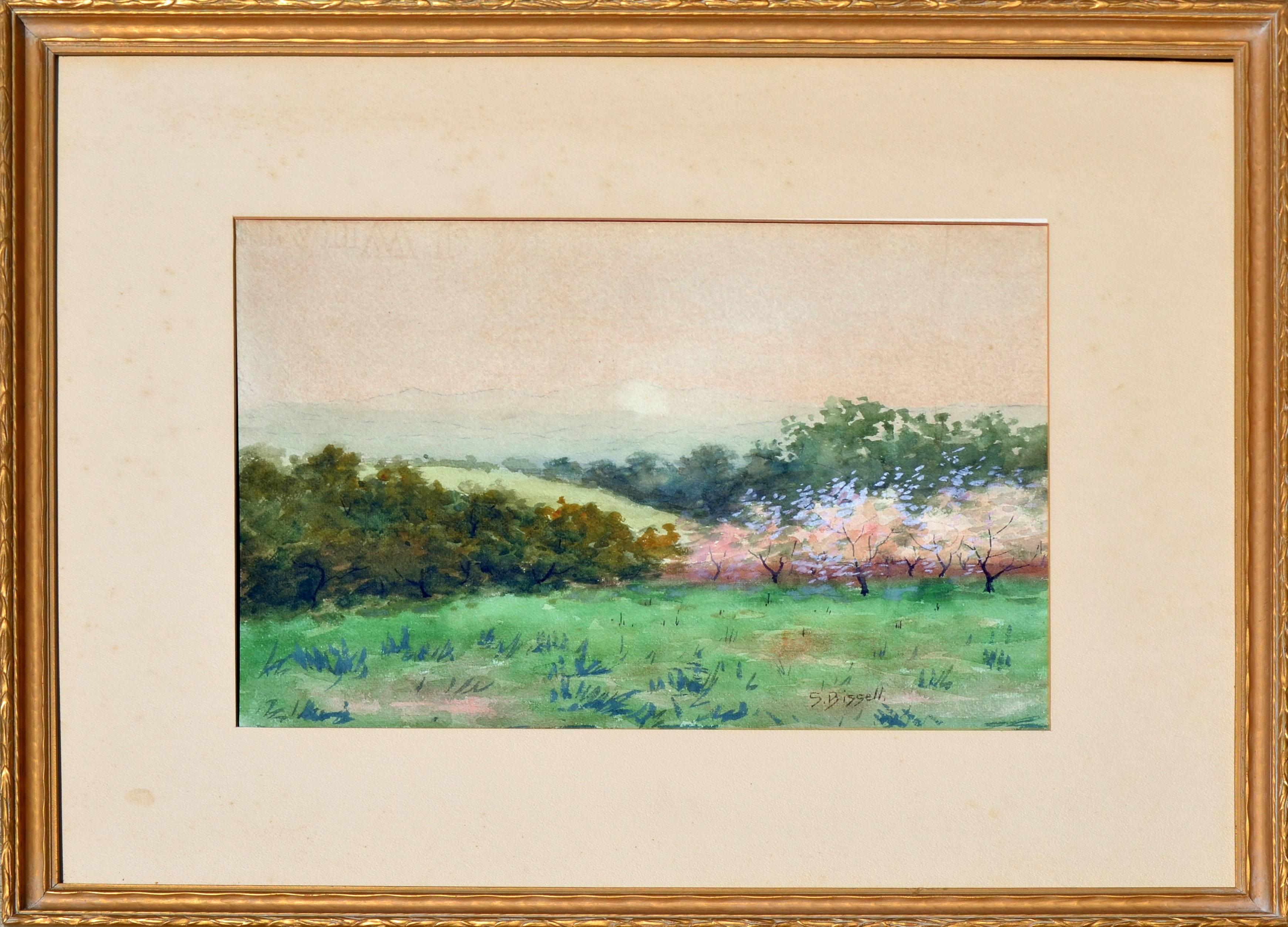 Late 19th Century Meadow and Hills Landscape