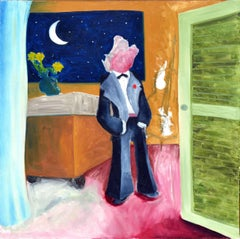 At the Moon, Wolf in a Tux - Abstract Figurative