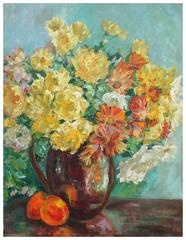 Yellow Roses and Cosmos Still Life