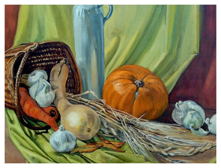 Mid Century Autumn Still Life - Painting by Dorothy Bouthillier