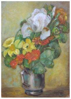Mid Century Iris and Daffodils Still Life