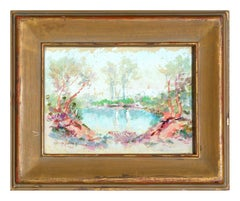 Early 20th Century Forest Pond Abstracted Landscape