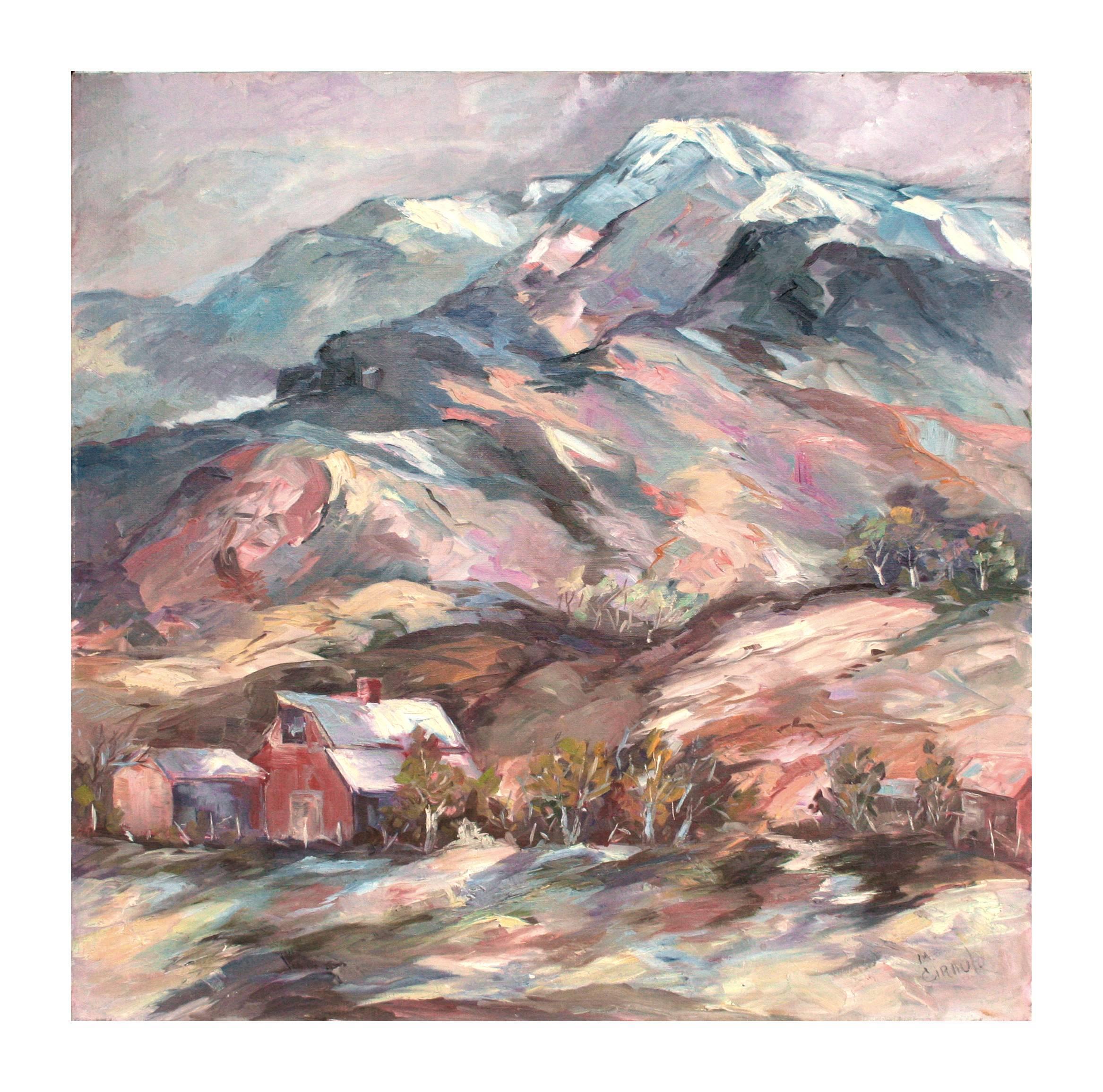 Colorful Majestic Mountaintop Farm Landscape