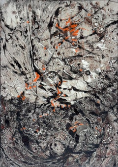 Mid Century Gray Scale Abstract Expressionist Composition