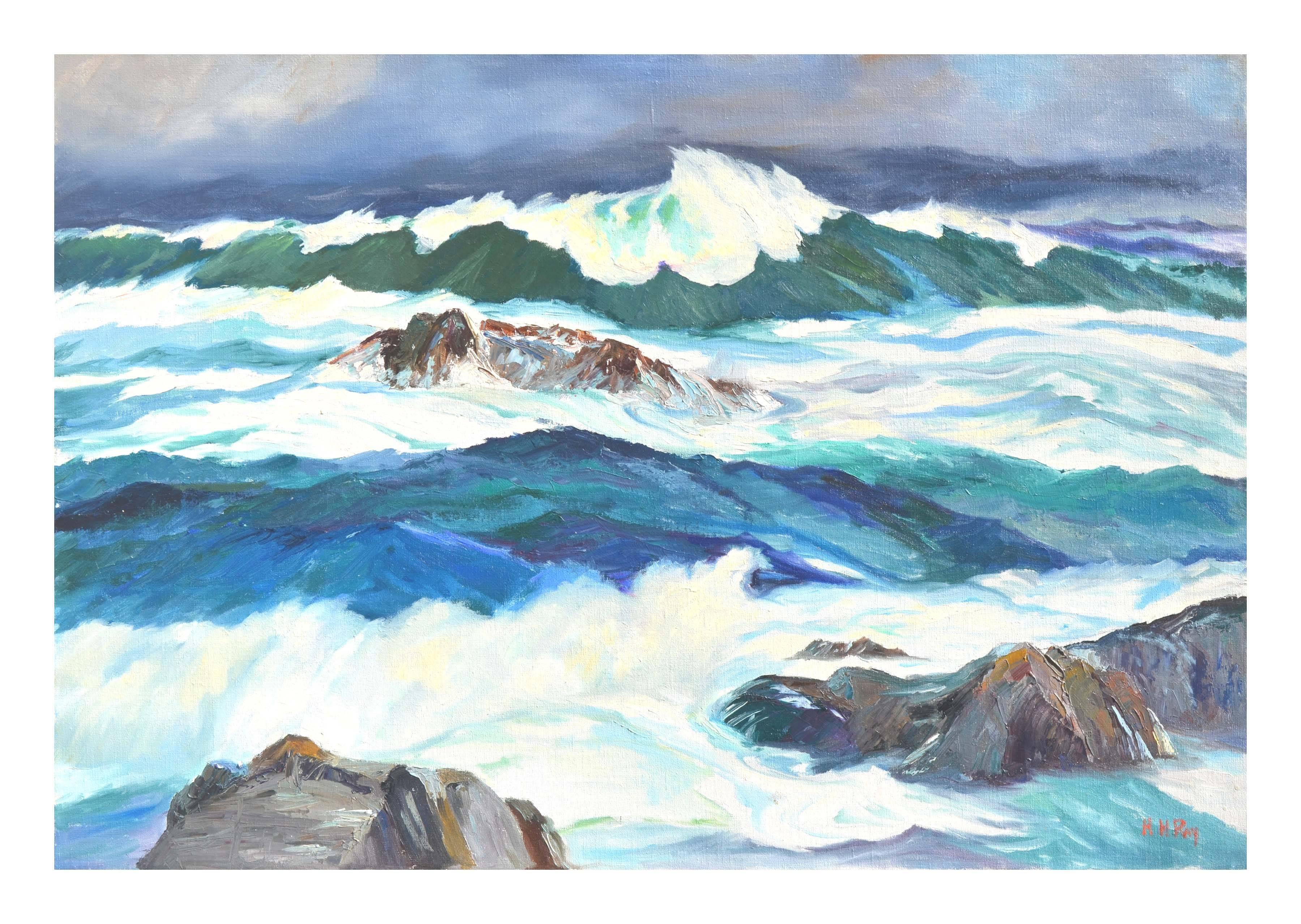"""Rough Seas"" - Mid Century Seascape"