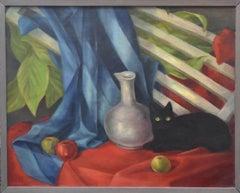 Black Cat and Vase Still Life