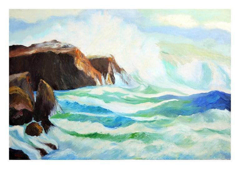 "Hartzell Harrison Ray Landscape Painting - ""Rolling Seas"" - San Mateo Coast Landscape"