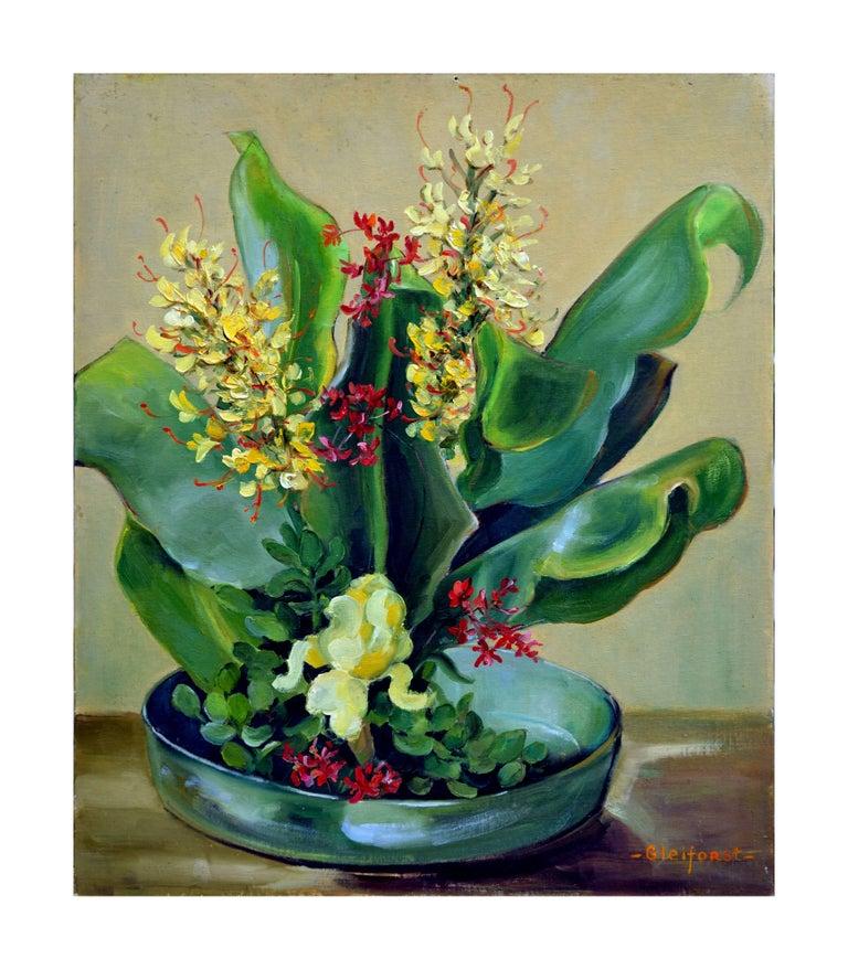 Helen Enoch Gleiforst Still-Life Painting - Mid Century Tropical Bonsai Still Life