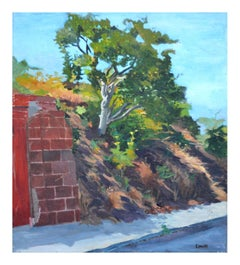 """Hillside Oak"" Landscape with Brick Wall"