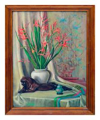 Bronze Tiger & Floral Still Life