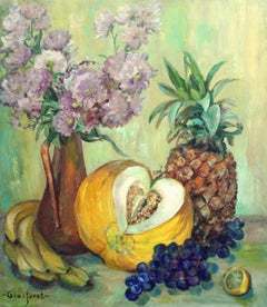 Vase of Strawflowers & Fruit Still Life