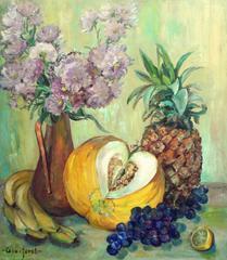 Vase of Strawflowers & Fruit Still Life