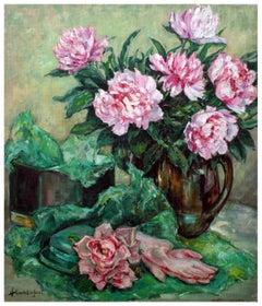 Pink Peonies & Garden Gloves