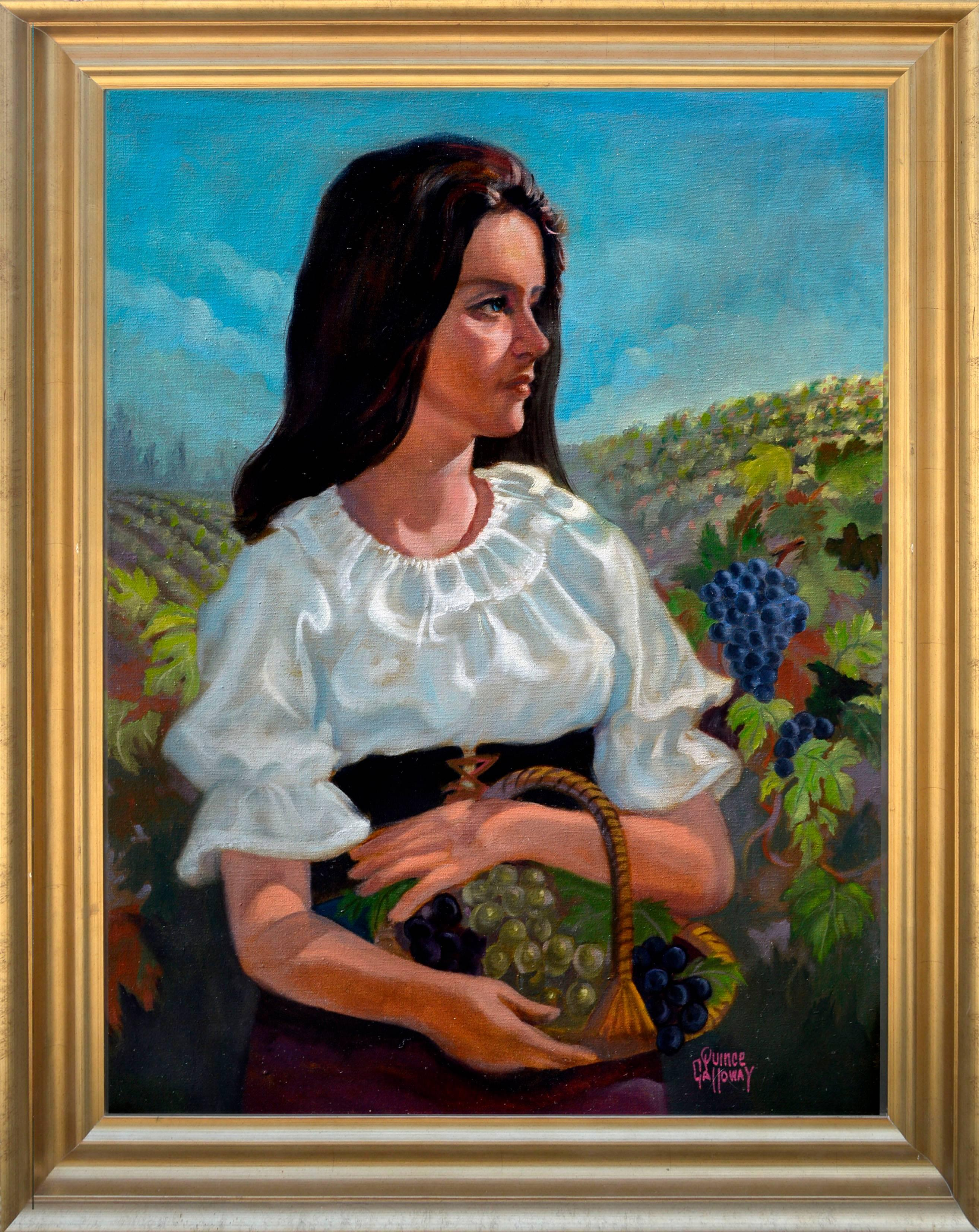 Woman in the Vineyards - Napa Grape Harvest Figurative Landscape