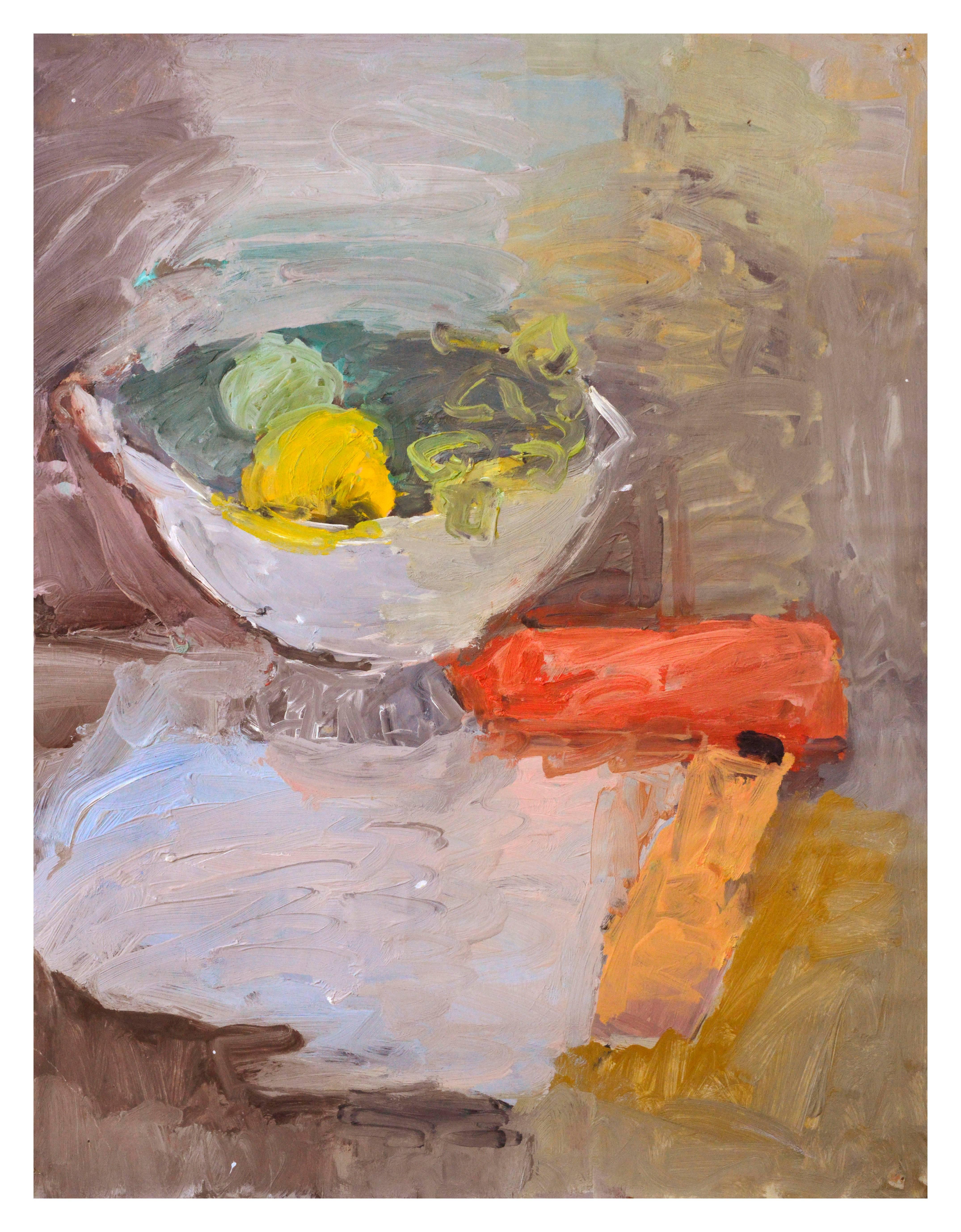 Mid Century French Impressionist Fruit Bowl Still Life