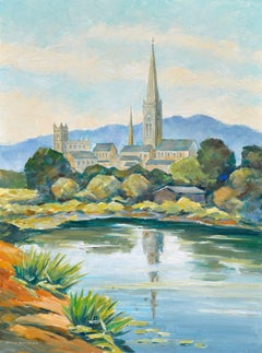 Steeple and Pond Mid Century Landscape