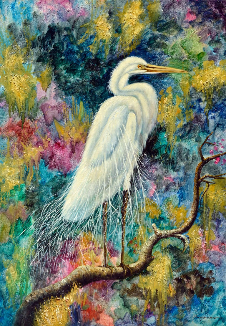 Augostino Animal Painting - The White Egret