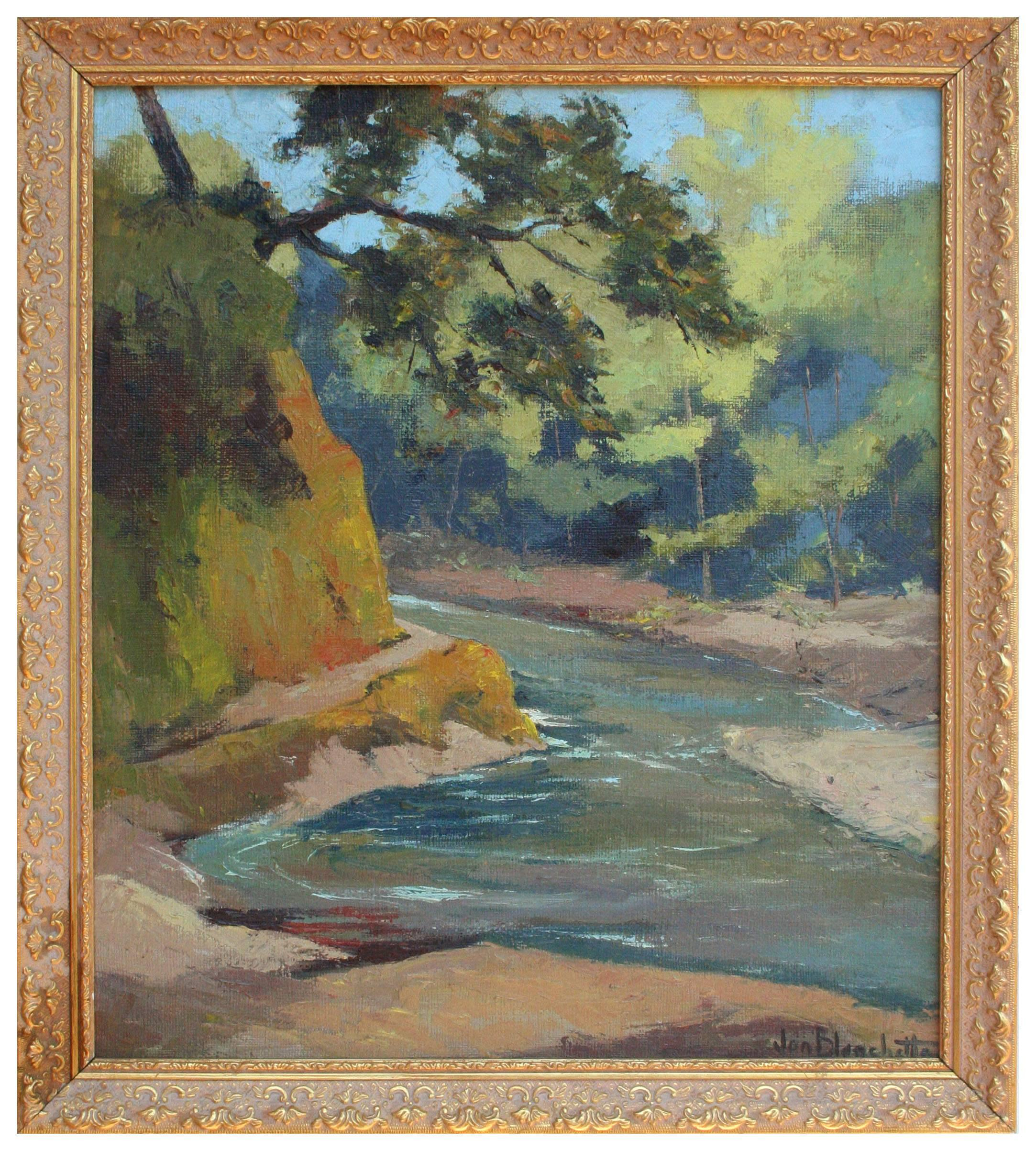 Mid Century California Mountain Stream Landscape