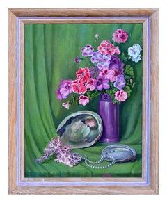 Geranium and Abalone Shell Still Life
