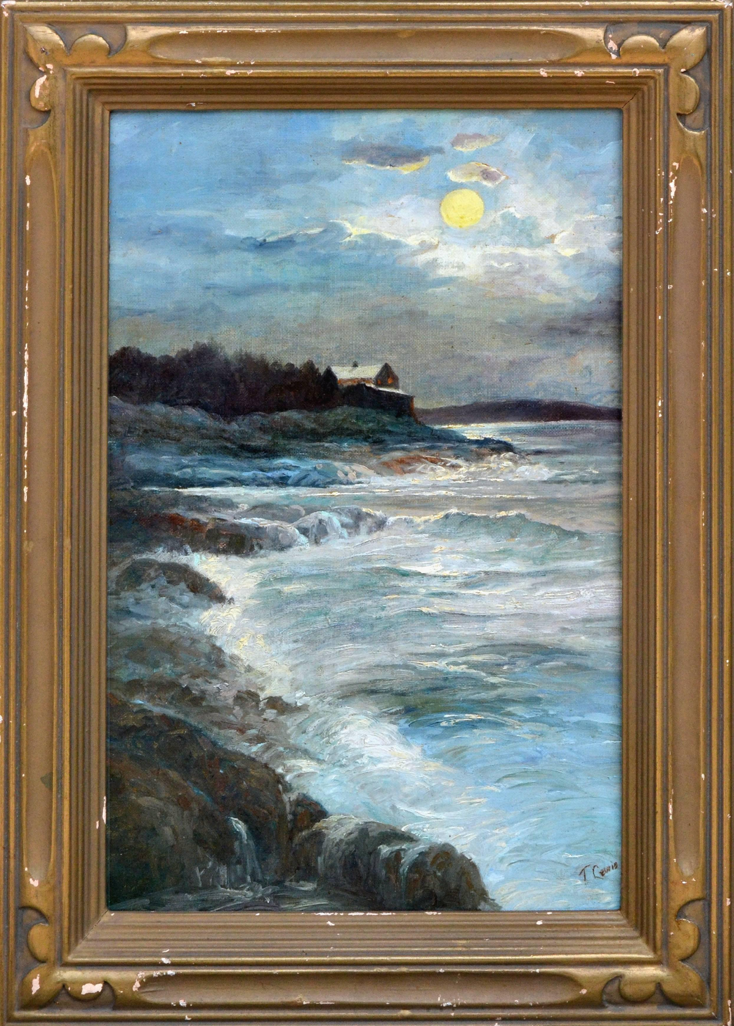 1920's Coastal Home Full Moon Landscape by T. Lewis