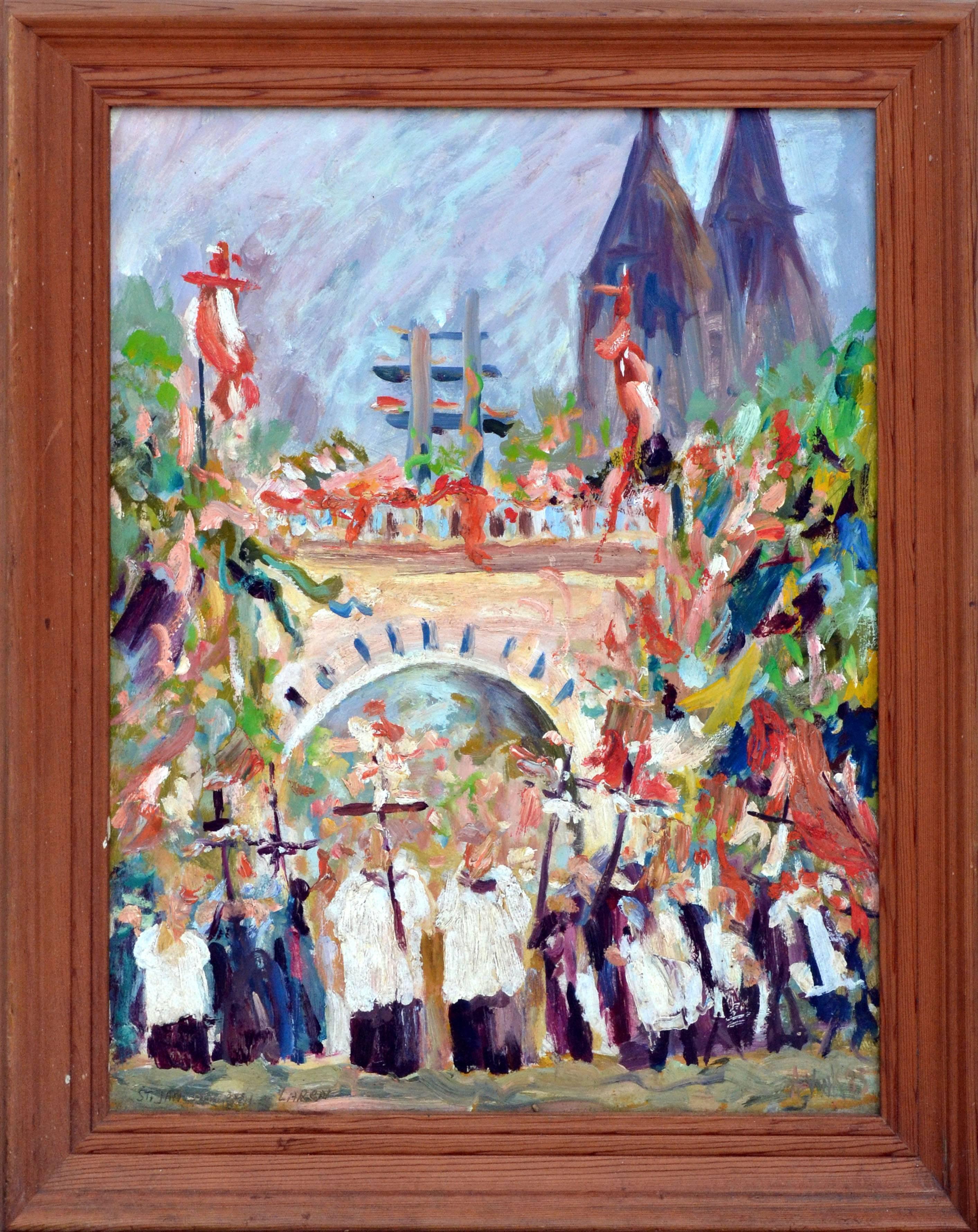 The Procession at St. Lauren Holland - Figurative Landscape