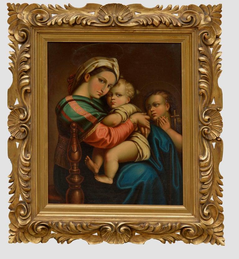 Unknown Figurative Painting - 19th Century Study of Raphael's Madonna Della Seggiola